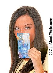 mulher, votando, cartão, (austria)