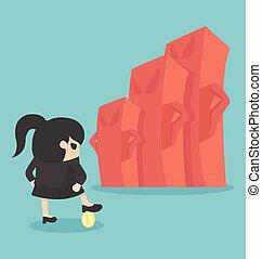 mulher, vs, mapa, negócio