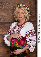 mulher, vyshyvanka, ukrainian, grávida