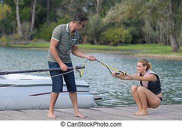 mulher, waterski, jovem, aprendizagem
