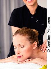mulher, wellness, massager, spa, massagem, dar