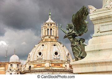 mulher,  winged,  emmanuel, estátua, monumento,  II, vencedor