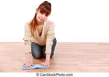 mulher, wipes, chão
