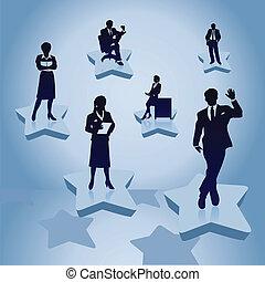 mulher, work., ilustração, atrás de, vetorial, homens negócios, homem