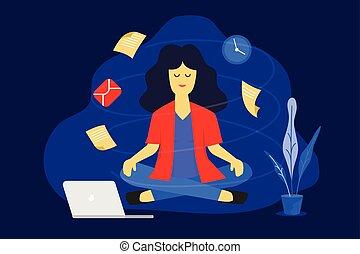 mulher, work., negócio, concept., ilustração, trabalhando, vetorial, desenho, meditação