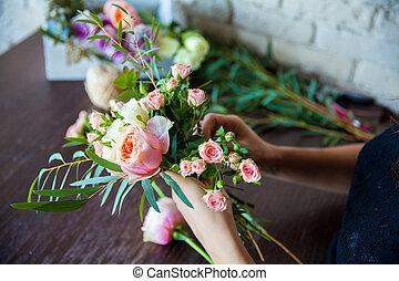 mulher, work., primavera, floricultor, decorações, floral,...