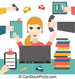 mulher, working., negócio, difícil, ocupado, woman., secretária