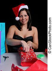 mulher, wraping, presente