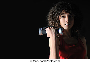 mulher, youg, malhação, clube, condicão física, dumbbell