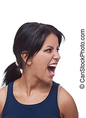 mulher zangada, gritando