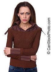 mulher zangada, olhar, câmera., isolado