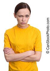 mulher zangada, seriamente, olhando câmera