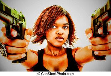 mulher, zangado, jovem, pretas, artisticos, retrato, armas