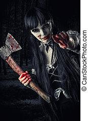 mulher, zombie, com, sangrento, machado