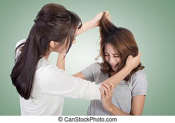 mulheres, asiático, luta