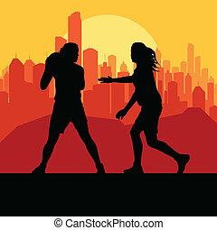 mulheres, basquetebol, frente, cidade, pôr do sol, vetorial