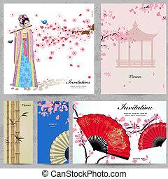 mulheres bonitas, china, saudação, cartões.