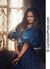 mulheres bonitas, em, a, roupa, de, a, 18º século
