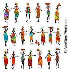 mulheres bonitas, jogo, isolado, africano