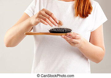 mulheres, cabelo, loss.