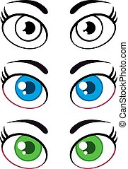 mulheres, caricatura, eyes., cobrança