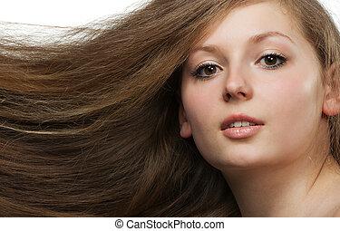 mulheres, com, cabelo longo