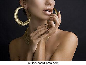 mulheres, com, dourado, maquiagem, mãos, com, dourado,...