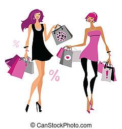 mulheres, com, shopping, bags.