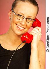 mulheres, com, telefone vermelho