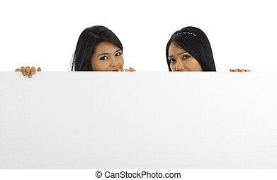 mulheres, com, um, junta branca