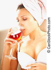 mulheres, com, vinho