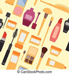 mulheres, cosmético, seamless, padrão