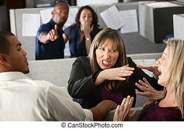 mulheres, coworkers, discutir