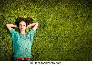 mulheres, desfrutando, jovem, natureza