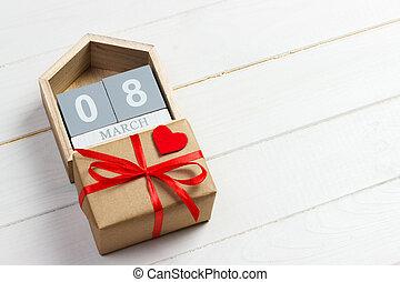 mulheres, dia, fundo, com, feito à mão, pequeno, têxtil, coração, calendário, e, caixa presente