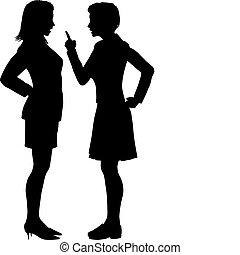 mulheres, discordar, grito, luta, argumento, conversa