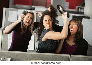 mulheres, discutir, três
