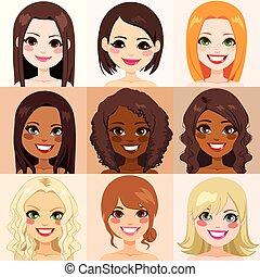 mulheres, diversidade, pele