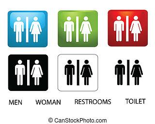 mulheres, e, homens, banheiros