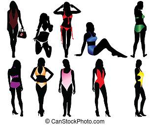 mulheres, em, a, swimsuit