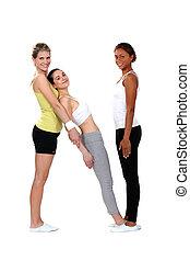 mulheres, fazendo, condicão física, com, um, femininas, treinador