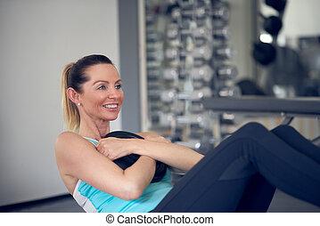 mulheres, fazendo, músculo abdominal, exercícios