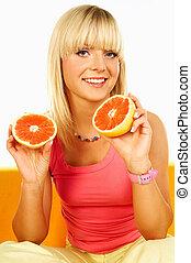 mulheres felizes, com, frutas