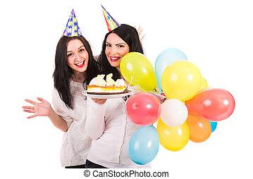 mulheres felizes, comemorar, aniversário