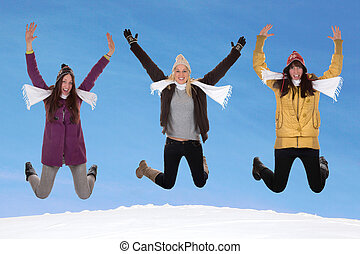mulheres felizes, pular, inverno
