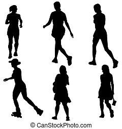 mulheres, figura, jogo