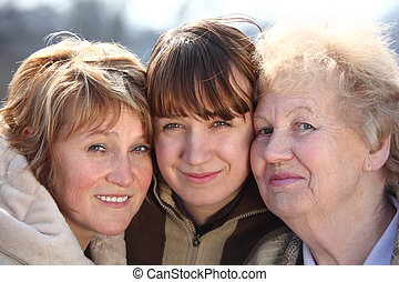 mulheres, gerações, retrato, um, família, três