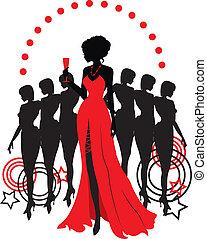 mulheres, grupo, gráfico, silhouettes., diferente, pessoa