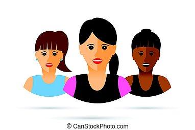 mulheres, grupo, três, ilustração, caricatura