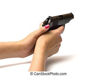 mulheres, handgun.